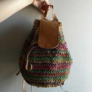 Vintage Woven Raffia Summer Backpack